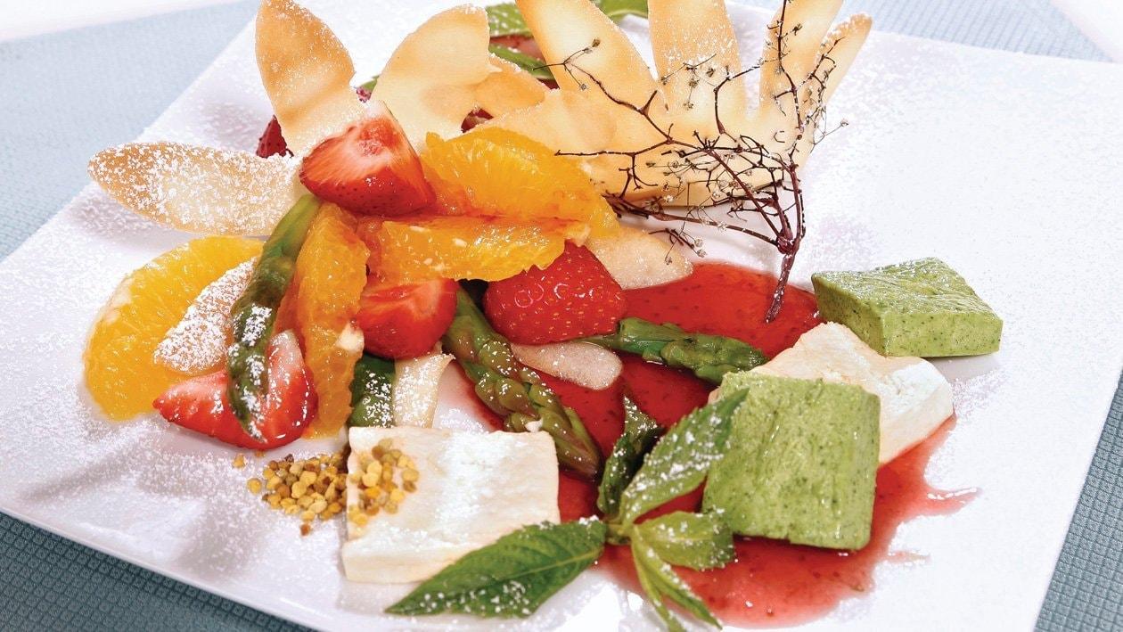 Trio de sabayons glacés au bricelet et salade d'asperges