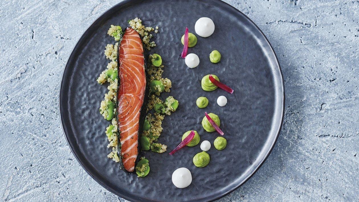 Saumon mariné et salade de quinoa