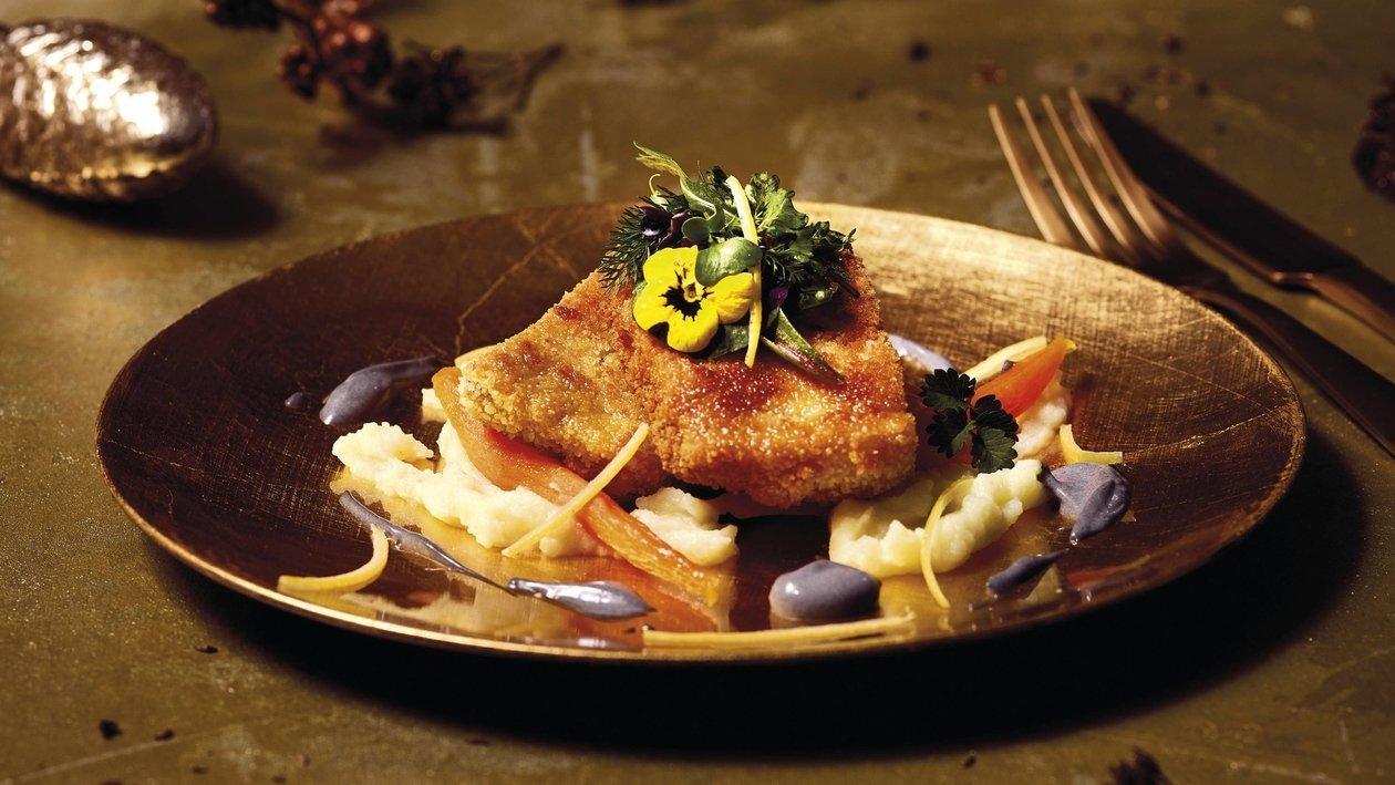 Carpes, mayonnaise charbon de bois-agrumes, pommes de terre, carotte