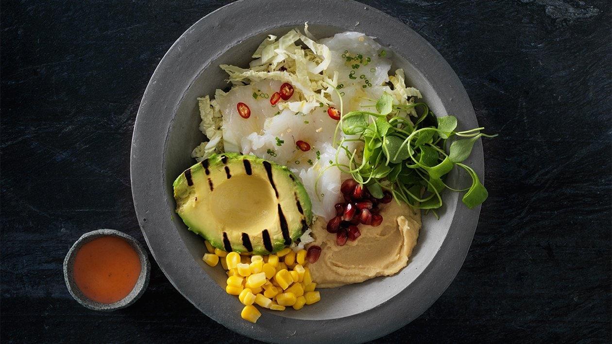 Buddha bowl avec ceviche de sandre