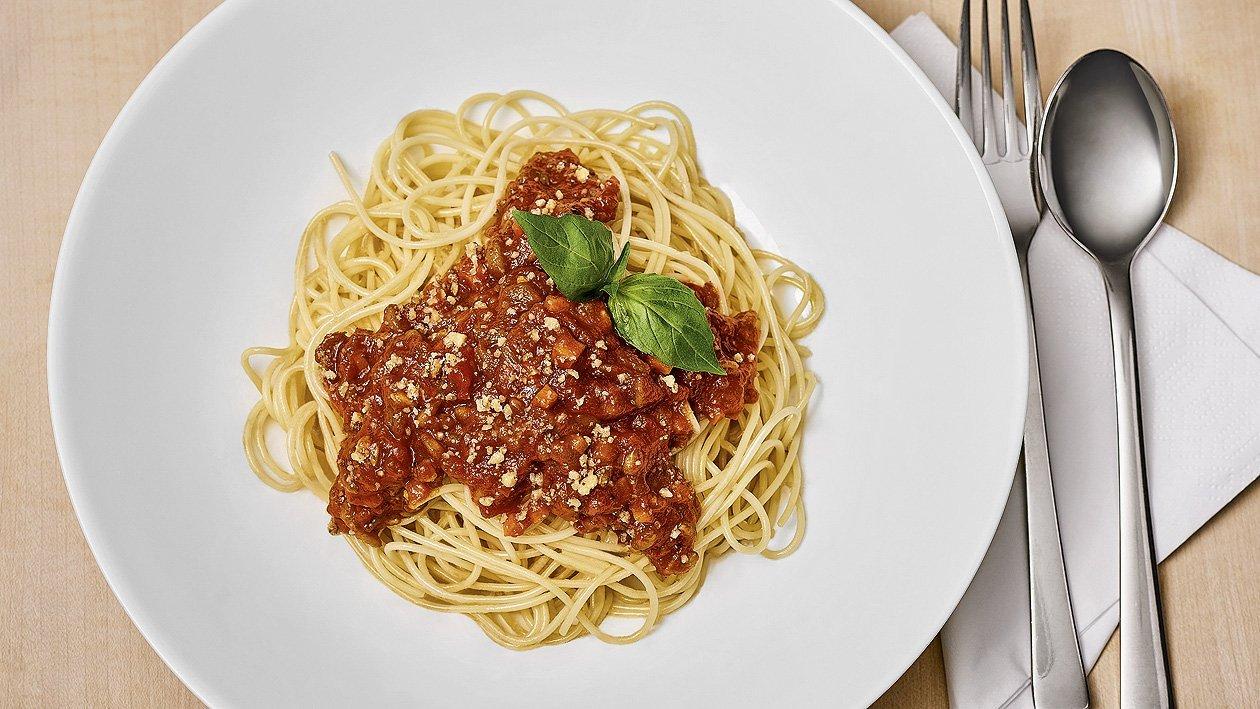 Spaghetti à la bolognaise végétalienne, sans allergènes