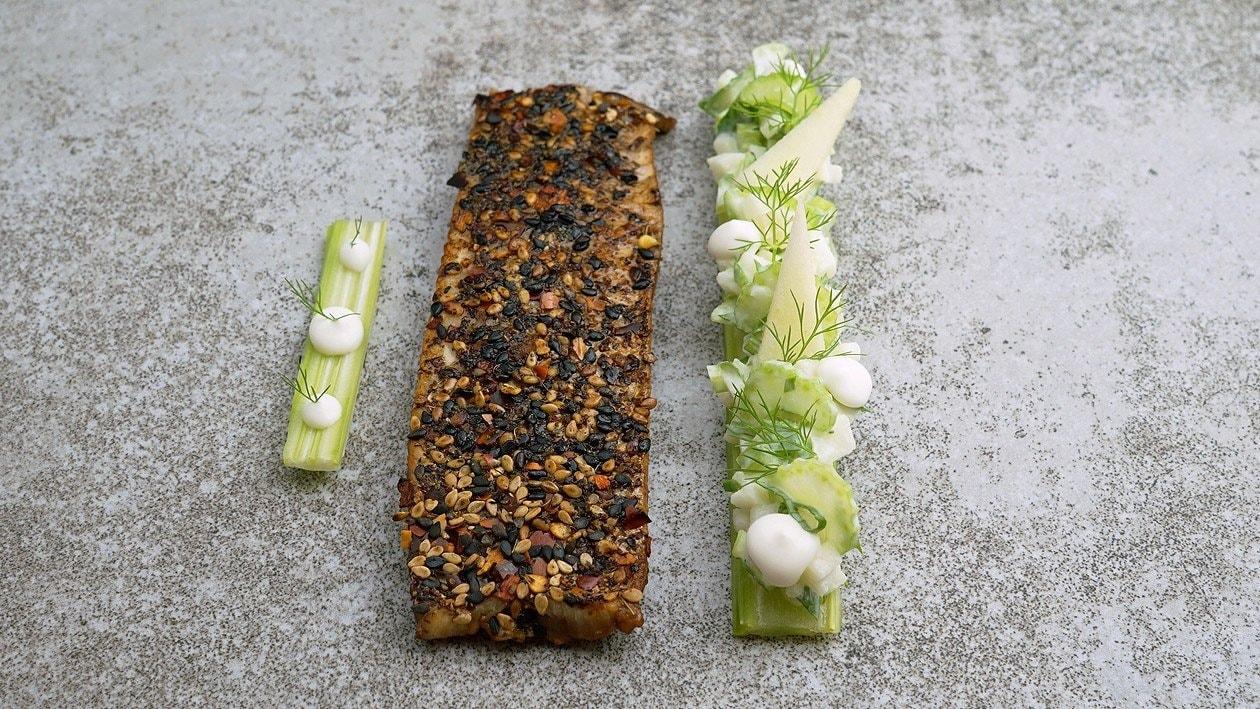 Tataki de truite et salade de pommes et céleri-branche