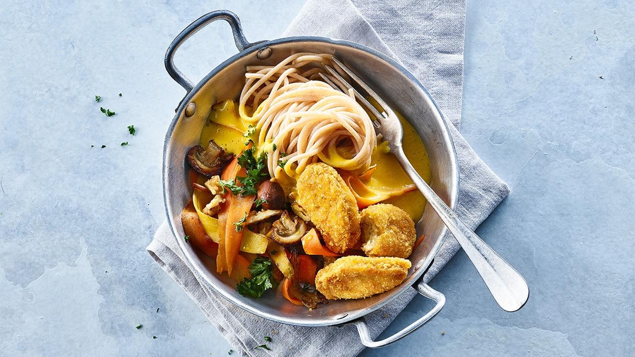 Spaghetti complets aux champignons et à l'écume de carottes