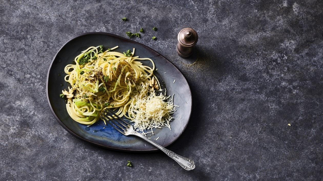 Spaghetti aux poireaux et Pecorino