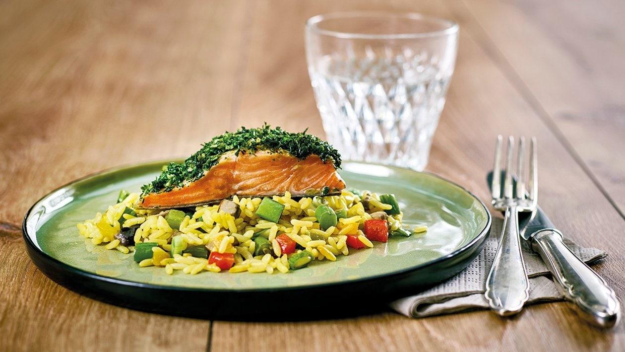 Truite saumonée marinée et paella aux légumes