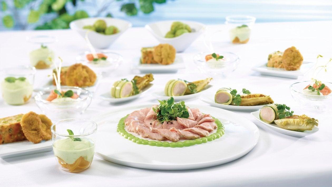 Lamelles de veau rosée aux mayonnaises de basilic et citronnée