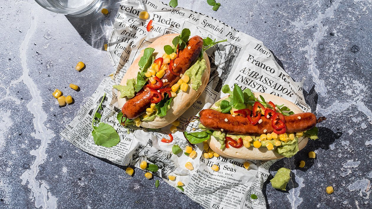 Hot Dog mit Guacamole, to go