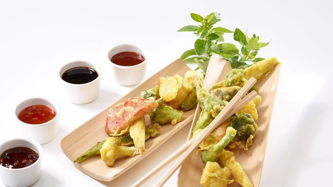 Tempura de légumes aux sauces Asia épicées